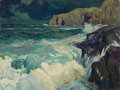 Mainstream Illustration, MCCLELLAND BARCLAY (American, 1891-1943). Surf AgainstRocks. Oil on canvas. 30 x 40 in.. Not signed. ...