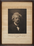 """Autographs:Authors, Samuel Clemens (""""Mark Twain"""") Photograph Twice Signed and Inscribed to his wife's personal physician. ..."""