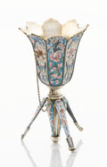 Silver Holloware, Continental:Holloware, A RUSSIAN SILVER GILT AND SHADED ENAMEL POSY HOLDER. Maker unknown,probably Moscow, Russia, circa 1890. Marks: DSh (in ...