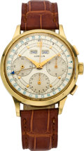 Timepieces:Wristwatch, Gubelin Triple Date Gold Chronograph Wristwatch, circa 1950. ...