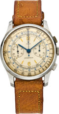 Timepieces:Wristwatch, Rolex Rare Ref. 3834 Mid-Size Steel Antimagnetic Chronograph Wristwatch, circa 1933. ...