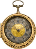 Timepieces:Pocket (pre 1900) , Rumel Early 1/4 Hour Repeating Verge Fusee, circa 1710. ...