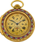 Timepieces:Pocket (pre 1900) , Swiss Unusual Oversize Triple Date Moonphase Calendar With Enamel & Stone Set Outer Case, circa 1820/1900. ...