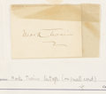 Movie/TV Memorabilia:Autographs and Signed Items, Mark Twain Signed Card.... (Total: 2 )