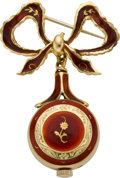 Timepieces:Pendant , Bucherer Miniature Gold & Enamel Pendant Watch & Pin, circa 1950. ...
