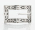 Silver Smalls:Buckles, AN AMERICAN SILVER BELT BUCKLE. Unger Bros., Newark, New Jersey,circa 1915. Marks: UB (conjoined), STERLING 925FINE...