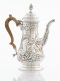 Silver Holloware, British:Holloware, A GEORGE III SILVER COFFEE POT. Thomas Parr II, London, England, 1763-1764. Marks: (lion passant), (leopard's head crowned),... (Total: 2250 Items)