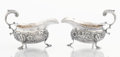 Silver Holloware, British:Holloware, A PAIR OF GEORGE II SILVER SAUCEBOATS. Charles Woodward or CharlesWright, London, England, 1748-1749. Marks: (lion passant)...(Total: 2 Items)