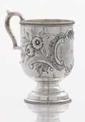 Silver Holloware, American:Cups, AN AMERICAN COIN SILVER CUP. Maker unknown, circa 1855. Marks:E.A. TYLER, NEW ORLEANS. 4-1/2 x 4 x 2-7/8 inches (11.4 x...