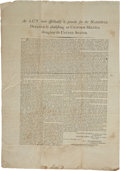Miscellaneous:Broadside, [George Washington] Broadside of the Second Militia Act of 1792:An Act more effectually to provide for the National Def...