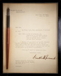 "Autographs:U.S. Presidents, Franklin D. Roosevelt Typed Letter Signed as President with BillSigning Pen. One page, 7"" x 9"", July 24, 1940, Hyde Park, N..."