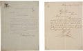 """Autographs:Non-American, Presidents of Mexico: Porfirio Díaz and Venustiano Carranza TypedLetters Signed. Each letter is 8.5"""" x 11"""". The Díaz letter..."""