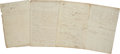 Autographs, [Simon Bolivar] A Handwritten Draft Regarding the Formation of aFederation of Nations in America in an unknown hand. Seven ...