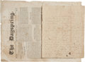 """Autographs:Celebrities, Hawaii: Malvina Rowell's Missionary Travel Journal, 1842, signed, """"Your affectionate sister/ Malvina J. Rowell"""", [24pp],..."""