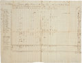 """Autographs:Military Figures, Purchases and Provisions Chart for the French Army on their 1781 March to Meet General Washington at """"Head Quarters..."""