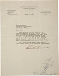 "Autographs:Authors, Edgar Rice Burroughs Typed Letter Signed. One page, 8.5"" x 11"", April 6, 1937, Tarzana, California, on Edgar Rice Burroughs,..."