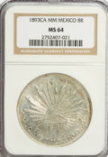 Mexico, Mexico: Republic Cap and Rays 8 Reales 1893 Ca-MM,...