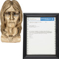 Music Memorabilia:Original Art, Beatles Related - John Lennon Bust with Telegram Regarding HisDeath.... (Total: 2 )
