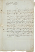 Autographs:U.S. Presidents, Presidential Election of 1792: Rhode Island Electors BallotSubmission Letter for the state's first presidential election. F...