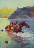 Pulp, Pulp-like, Digests, and Paperback Art, GEORGE WILLIAM GAGE (American, 1887-1957). Royal CanadianMounted Police -- The Rescue. Oil on canvas. 30 x 22 in..Sign...