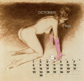 Pin-up and Glamour Art, FRITZ WILLIS (American, 1907-1979). Calendar pin-up, October1965. Mixed-media on board. 18 x 19 in.. Initialed lower ce...