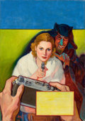 Pulp, Pulp-like, Digests, and Paperback Art, RUDOLPH BELARSKI (American, 1900-1983). Detective Fiction Weeklypulp cover, April 8, 1939. Oil on canvas. 30 x 21 in.. ...