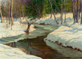 Fine Art - Painting, American:Modern  (1900 1949)  , ANTON OTTO FISCHER (American, 1882-1962). A Winter Stream.Oil on canvas. 20 x 28 inches (50.8 x 71.1 cm). Signed lower ...