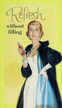 AMERICAN ARTIST (20th Century) Pepsi Cola, Refresh Without Filling, ad illustration Gouache on board