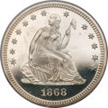 Proof Seated Quarters, 1868 25C PR65 Deep Cameo PCGS. CAC....