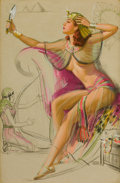 Pin-up and Glamour Art, KNUTE O. MUNSON (American, 20th Century). Egyptian Pin-up.Pastel on board. 23.25 x 15.25 in.. Signed lower right. ...