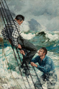 Mainstream Illustration, ANTON OTTO FISCHER (German, 1882-1962). Man in Rigging,1918. Oil on canvas. 30 x 20 in.. Signed lower right. ...