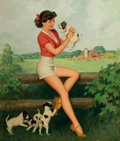 Pin-up and Glamour Art, WALT OTTO (American, 1895-1963). Farm Girl, pin-up. Oil oncanvas. 35 x 29 in.. Signed lower right. ...