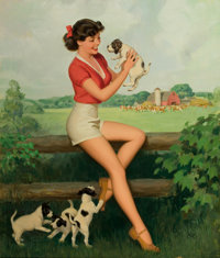 WALT OTTO (American, 1895-1963) Farm Girl, pin-up Oil on canvas 35 x 29 in. Signed lower right