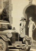 Mainstream Illustration, LAURENCE FELLOWS (American, 1885-1964). Kelly Tires adillustration, 1926. Ink on board. 17 x 12 in.. Signed lowerright...