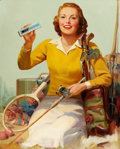 Pin-up and Glamour Art, Attributed to RUSSELL SAMBROOK (American, 1891-1956). AlkaSeltzer ad illustration. Oil on canvas. 40 x 32 in.. Notsign...