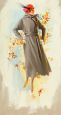 Mainstream Illustration, AMERICAN ARTIST (20th Century). Fashion Illustration, Fall,1918. Oil on canvas. 26 x 14 in.. Not signed. ...