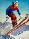 Pin-up and Glamour Art, ELLEN BARBARA SEGNER (American, d. 2001). The Skier. Oil oncanvas. 40 x 30 in.. Signed lower right. ...