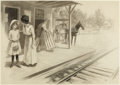 Mainstream Illustration, STOCKTON MULFORD (American, 1886-1960). At the Station.Charcoal on board. 21 x 29 in.. Signed lower right. ...