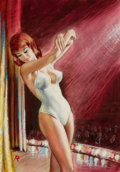 Pulp, Pulp-like, Digests, and Paperback Art, PAUL RADER (American, 1906-). Miss Dream Girl, paperbackcover, 1965. Watercolor and gouache on board. 13.5 x 9.5 in..S...