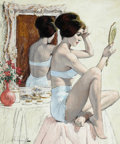 Pin-up and Glamour Art, ARTHUR SARON SARNOFF (American, 1912-2000). Girl Arranging HerHair. Gouache on board. 21.5 x 18 in.. Signed lower left...