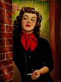 Pin-up and Glamour Art, FRANK FROLLO (American, b. 1915). Brunette. Oil on canvas.30 x 23 in.. Signed lower right. ...