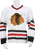 Hockey Collectibles:Others, Bobby and Brett Hull Signed Jersey. ...