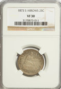 Seated Quarters: , 1873-S 25C Arrows VF30 NGC. NGC Census: (5/31). PCGS Population(3/36). Mintage: 156,000. Numismedia Wsl. Price for NGC/PCG...
