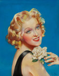 Pin-up and Glamour Art, MILA BAINE (American, 20th Century). Alice Fay, movie magazinecover, c. 1930s. Pastel on board. 19.5 x 15 in.. Signed l...