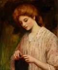 Paintings, WILLIAM OLIVER (British, 1823-1901). Emma Eburne Knitting a Sweater. Oil on canvas. 24 x 20 inches (61.0 x 50.8 cm). ...