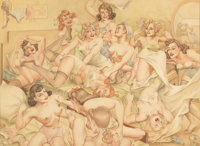 LEO NOWAK (American, 1907-2001) Pillow fight Pencil and watercolor on board 22 x 29.75 in. Sig