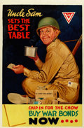 Mainstream Illustration, G. W. FRENCH (American, 20th Century). Uncle Sam Sets the BestTable, WW II poster illustration. Oil on canvas. 42 x 28 ...