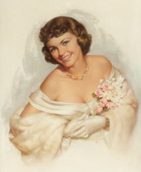 ZOE MOZERT (American, 1904-1993) Girl with Corsage Pastel on board 32 x 25 in. Signed lower ce