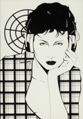 Pin-up and Glamour Art, PATRICK NAGEL (American, 1945-1984). Earphones On. Acrylicon board. 16 x 11 in.. Not signed. ...
