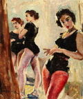 Pin-up and Glamour Art, PAL FRIED (Hungarian, 1893-1976). Backstage. Oil on board.30 x 25 in.. Signed lower left. ...